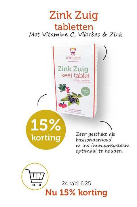 Rode Pilaren Zink Zuig Tabletten 15% Korting