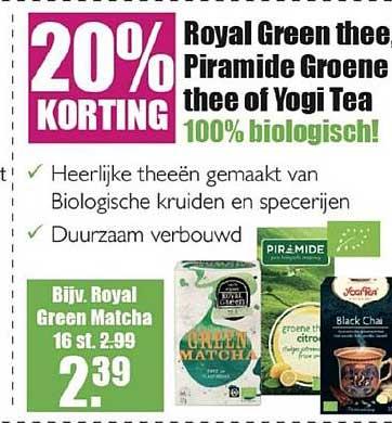 Gezond & Wel Royal Green Thee, Piramide Groene Thee Of Yogi Tea 20% Korting
