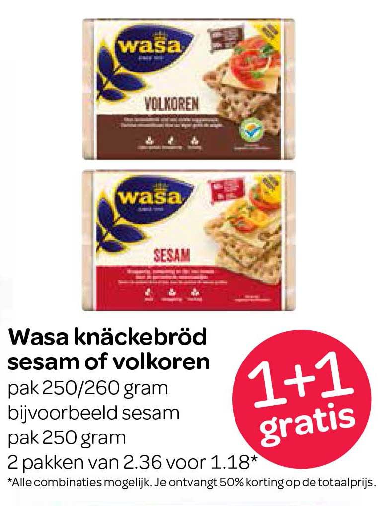 Spar Wasa Knackebrod Sesam Of Volkoren: 1+1 Gratis