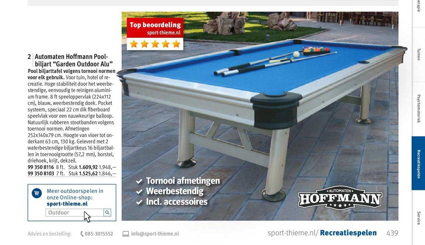 Sport-Thieme Automaten Hoffmann Pool Biljart Garden Outdoor Alu