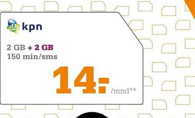 Telecombinatie 2 GB + 2 GB 150 Min-SMS