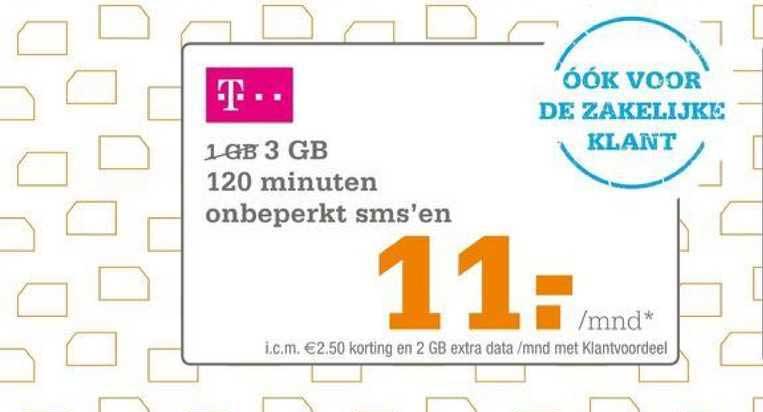Telecombinatie 3 GB 120 Minuten Onbeperkt SMS'en