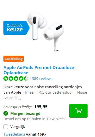 Coolblue Apple AirPods Pro Met Draadloze Oplaadcase