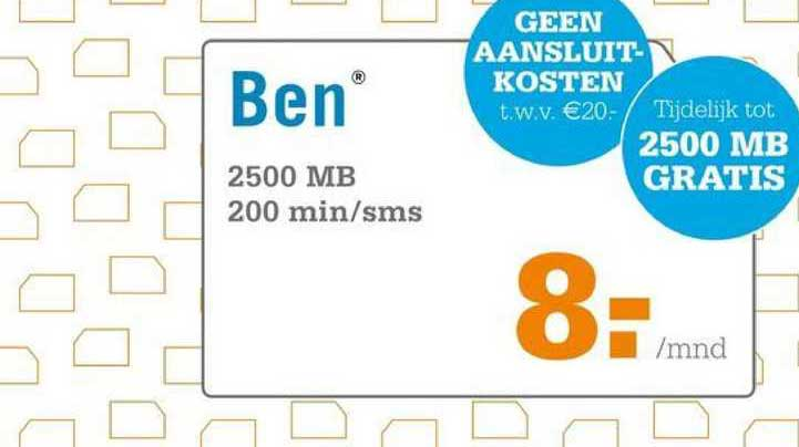 Telecombinatie Ben 2500 MB 200 Min-SMS
