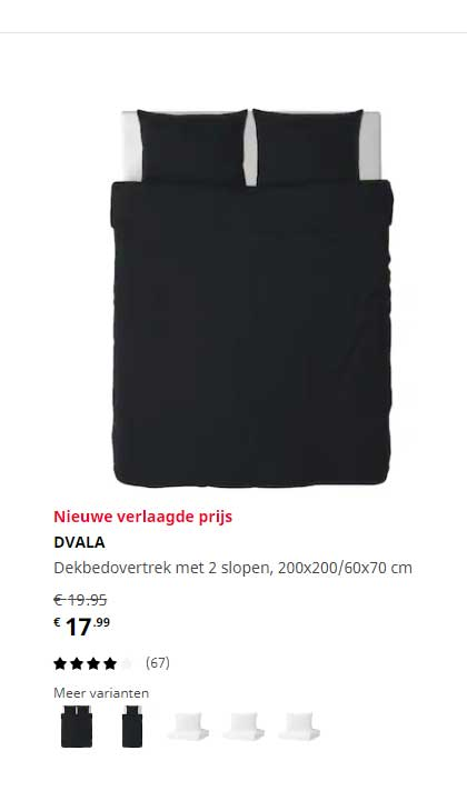 IKEA Dvala Dekbedovertrek Met 2 Slopen, 200x200-60x70 Cm
