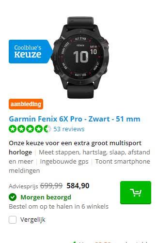 Coolblue Garmin Fenix 6X Pro - Zwart 51 Mm