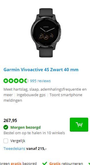 Coolblue Garmin Vivoactive 4S Zwart 40 Mm