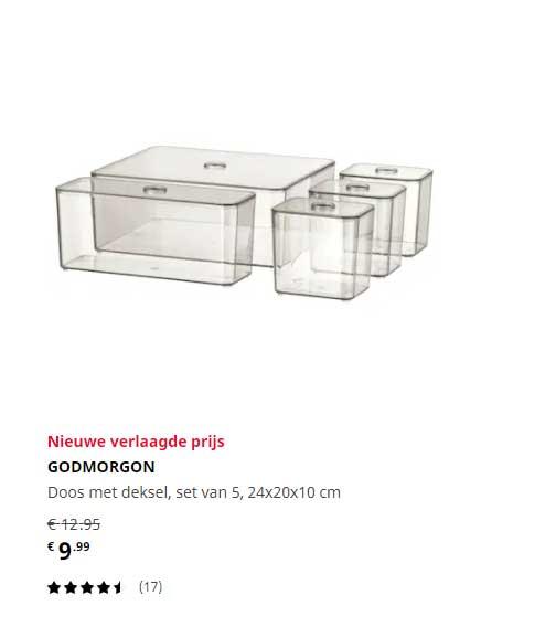IKEA Godmorgon Doos Met Deksel Set Van 5, 24x20x10 Cm