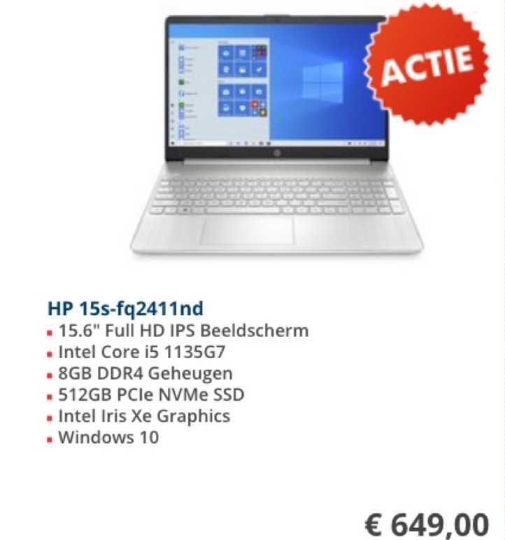 Informatique HP 15S-FQ2411ND Laptop