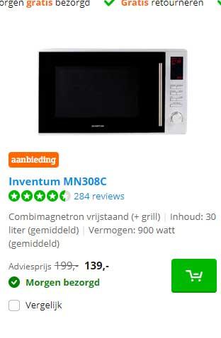 Coolblue Inventum MN308C Combimagnetron Vrijstaand (+ Grill)