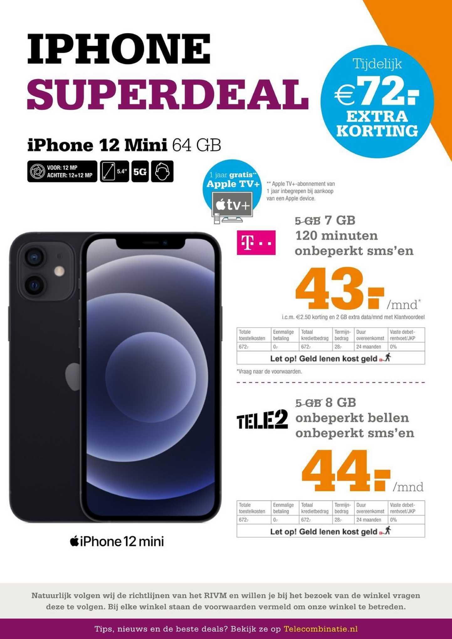 Telecombinatie IPhone 12 Mini 64 GB