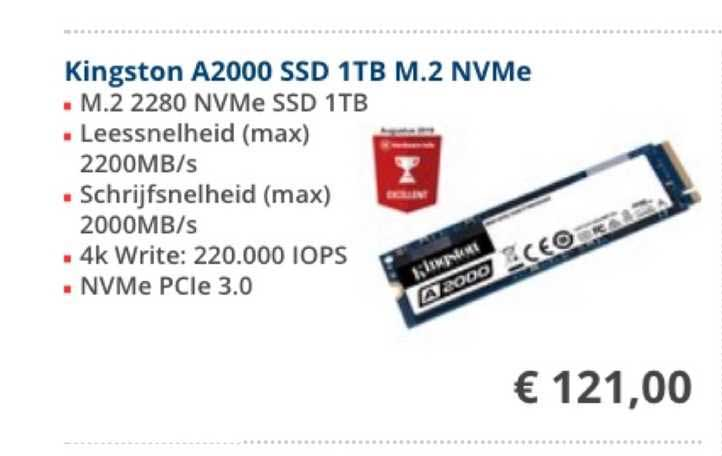 Informatique Kingston A2000 SSD 1TB M.2 NVMe