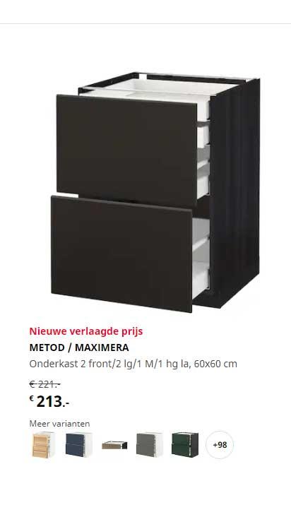 IKEA Metod - Maximera Onderkast 2 Front-2 Lg-1 M-1 Hg La, 60x60 Cm
