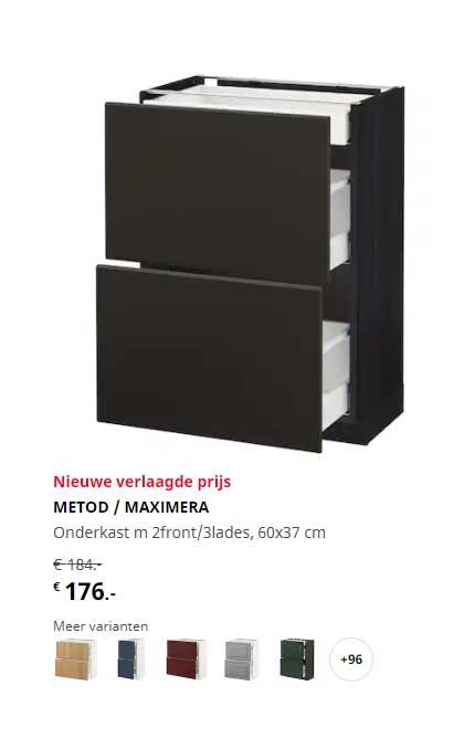 IKEA Metod - Maximera Onderkast M 2Front-3Lades 60x37 Cm