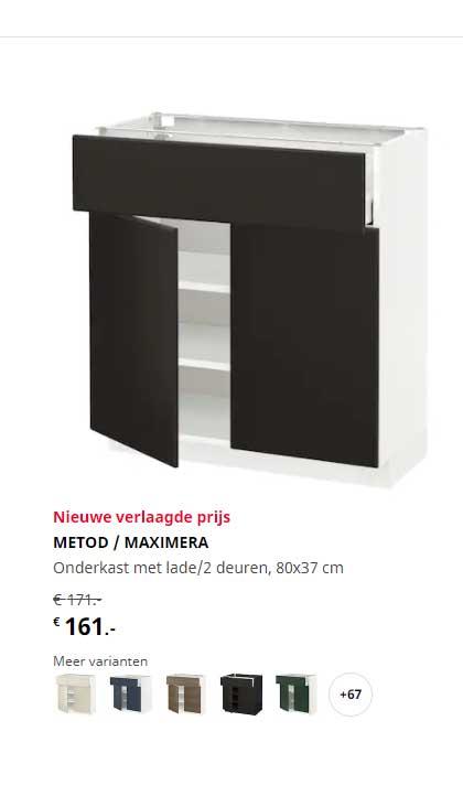 IKEA Metod - Maximera Onderkast Met Lade-2 Deuren 80x37 Cm