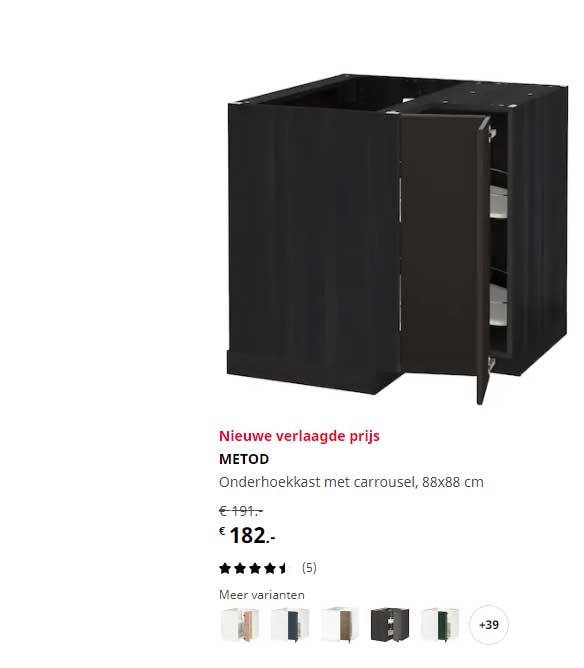 IKEA Metod Onderhoekkast Met Carrousel, 88x88 Cm