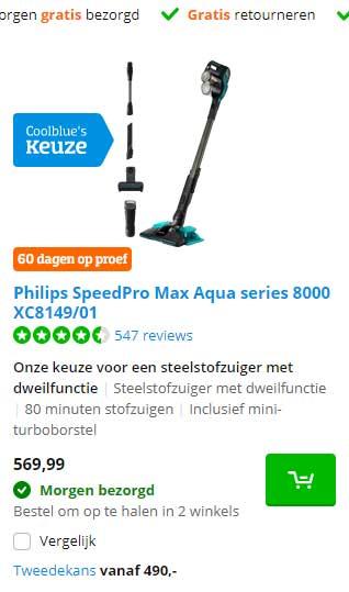 Coolblue Philips SpeedPro Max Aqua Series 8000 XC8149-01 Steelstofzuiger Met Dweilfunctie