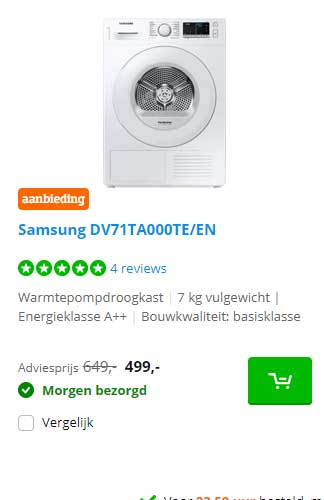 Coolblue Samsung DV71TA000TE-EN Warmtepompdroogkast