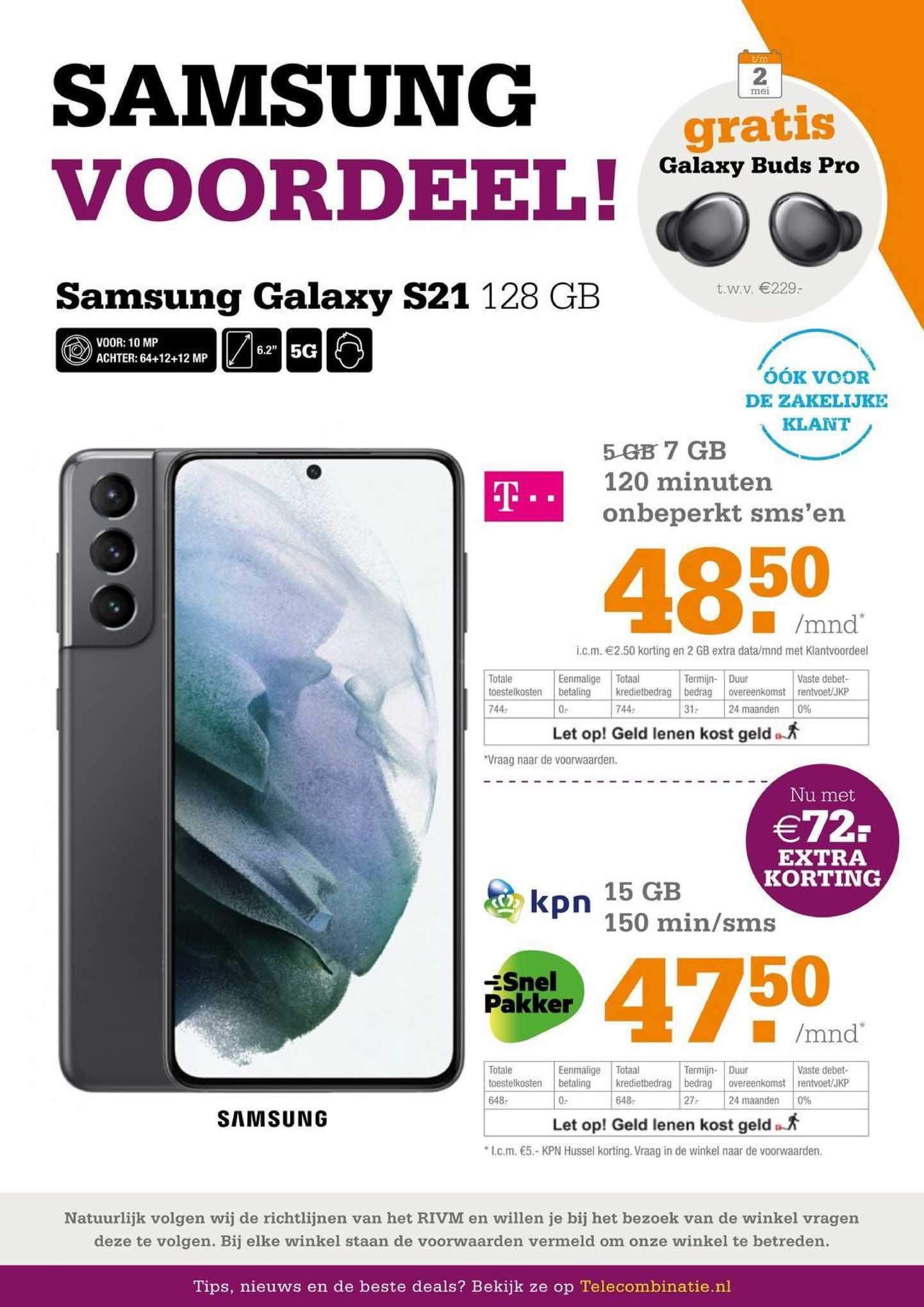 Telecombinatie Samsung Galaxy S21 128 GB