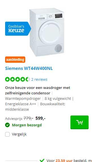 Coolblue Siemens WT44W400NL Wasdroger Met Zelfreinigende Condensor