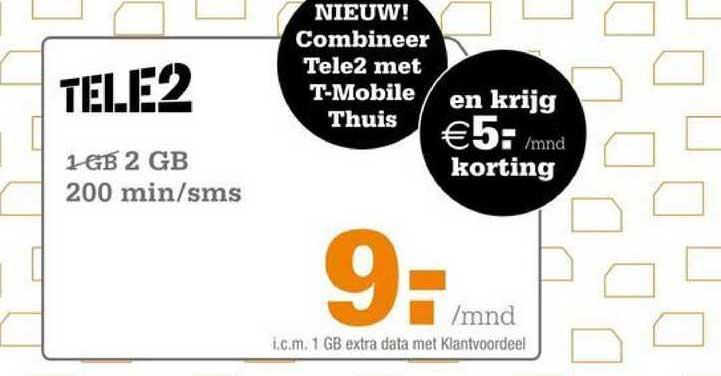 Telecombinatie Tele2 2 GB 200 Min-SMS
