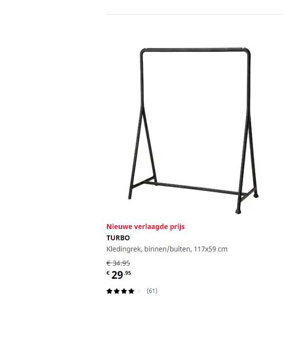 IKEA Turbo Kledingrek Binnen-Buiten 117x59 Cm