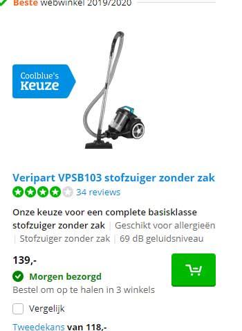 Coolblue Veripart VPSB103 Stofzuiger Zonder Zak