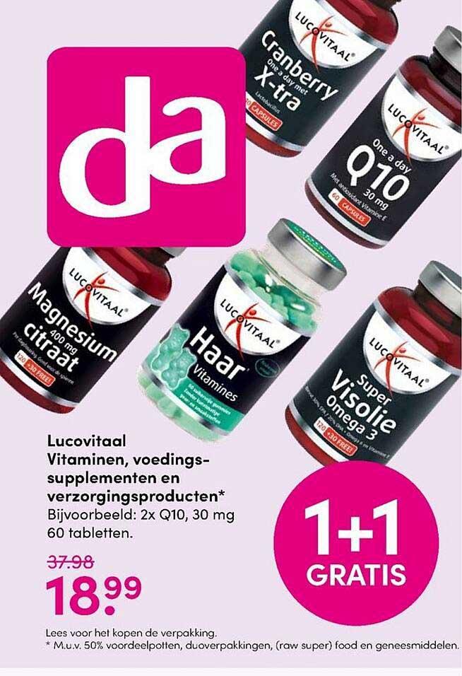 DA Lucovitaal Vitaminen, Voedingssupplementen En Verzorgingsproducten 1+1 Gratis