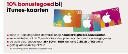 HEMA 10% Bonustegoed Bij ITunes-kaarten