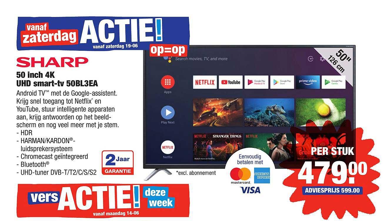 ALDI Sharp 50 Inch 4K UHD Smart-TV 50BL3EA