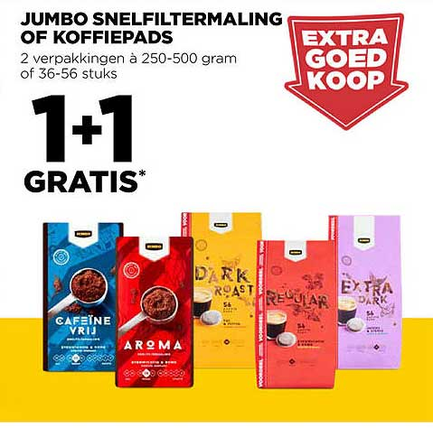Jumbo Jumbo Snelfiltermaling Of Koffiepads 1+1 Gratis