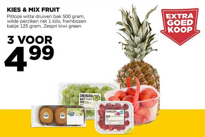 Jumbo Kies & Mix Fruit : Pitloze Witte Druiven, Wide Perziken, Frambozen Of Zespri Kiwi Green