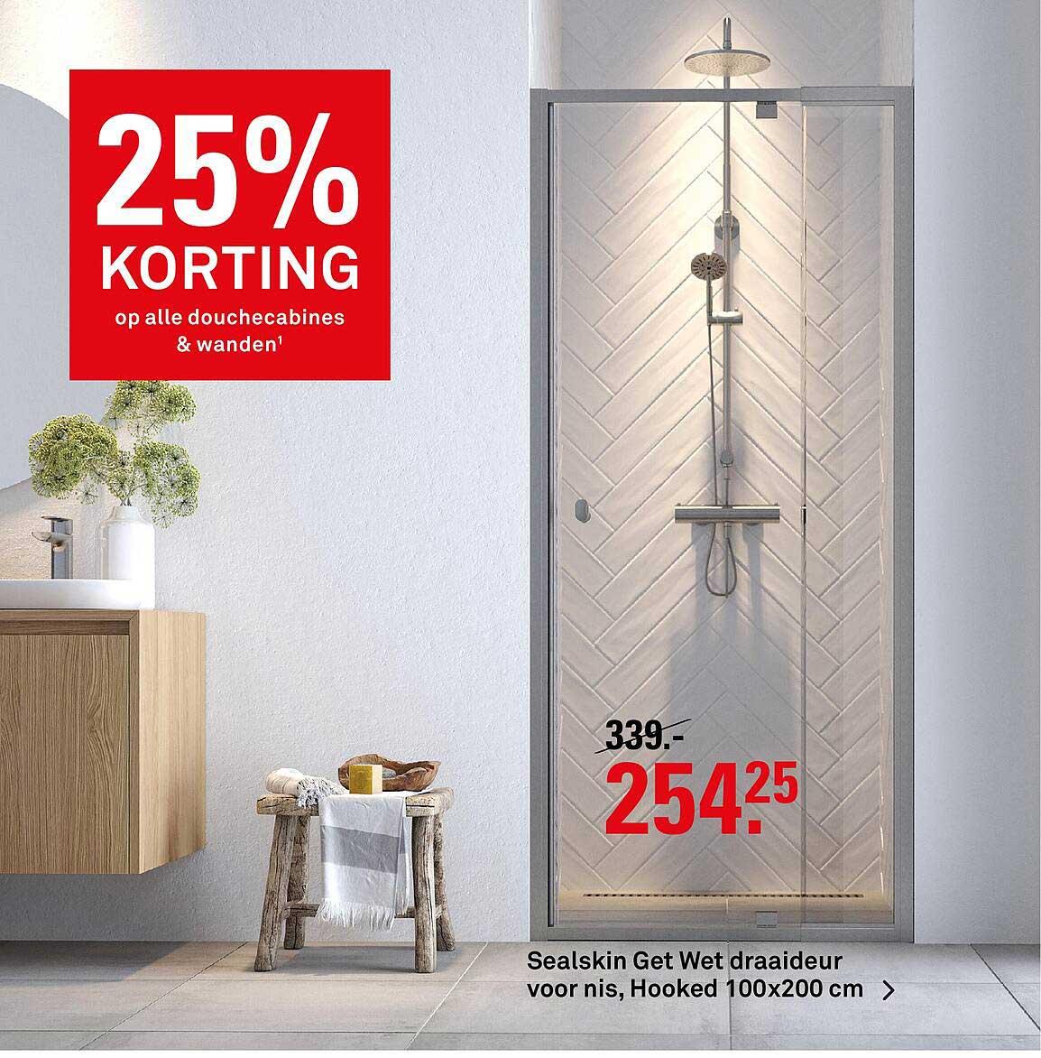 Karwei Sealskin Get Wet Draaideur Voor Nis, Hooked 100x200 Cm 25% Korting