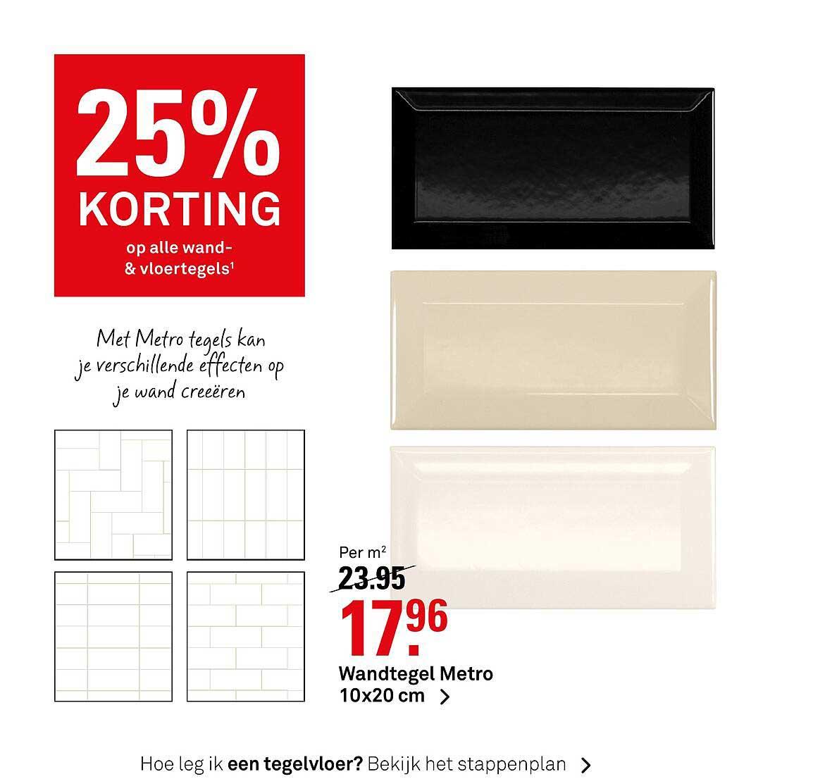 Karwei Wandtegel Metro 10x20 Cm 25% Korting