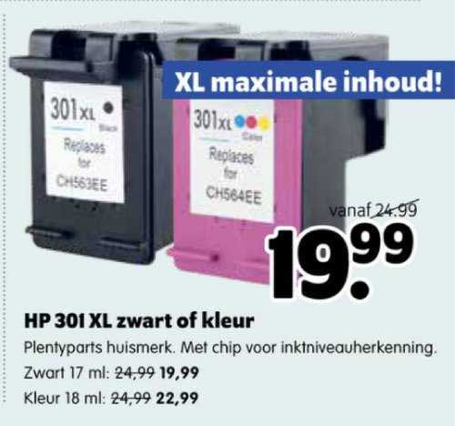 Plentyparts HP 301 XL Ink Cartridge Zwart Of Kleur