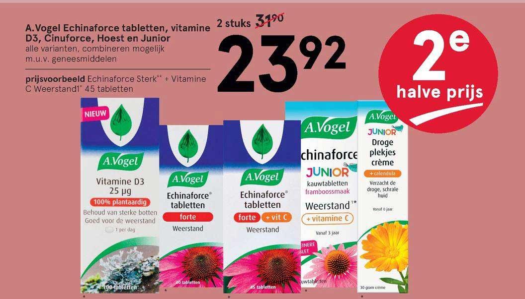 Etos A. Vogel Echinaforce Tabletten, Vitamine D3, Cinuforce, Hoest En Junior