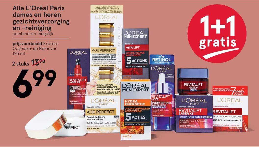 Etos Alle L'Oréal Paris Dames En Heren Gezichtsverzorging En -reiniging 1+1 Gratis