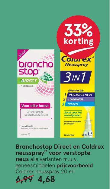 Etos Bronchostop Direct En Coldrex Neusspray Voor Verstopte Neus 33% Korting