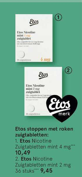 Etos Etos Nicotine Zuigtabletten Mint 4 Mg Of Etos Nicotine Zuigtabletten Mint 2 Mg 36 Stuks