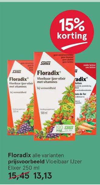 Etos Floradix Vloeibaar Ijzer Elixer 15% Korting