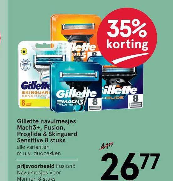 Etos Gillette Navulmesjes Macht3+, Fusion, Proglide & Skinguard Sensitive 8 Stuks 35% Korting