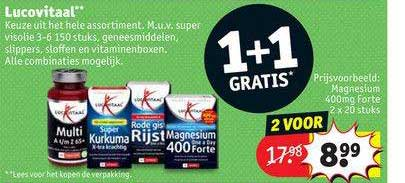 Kruidvat Lucovitaal Magnesium 400mg Forte 1+1 Gratis