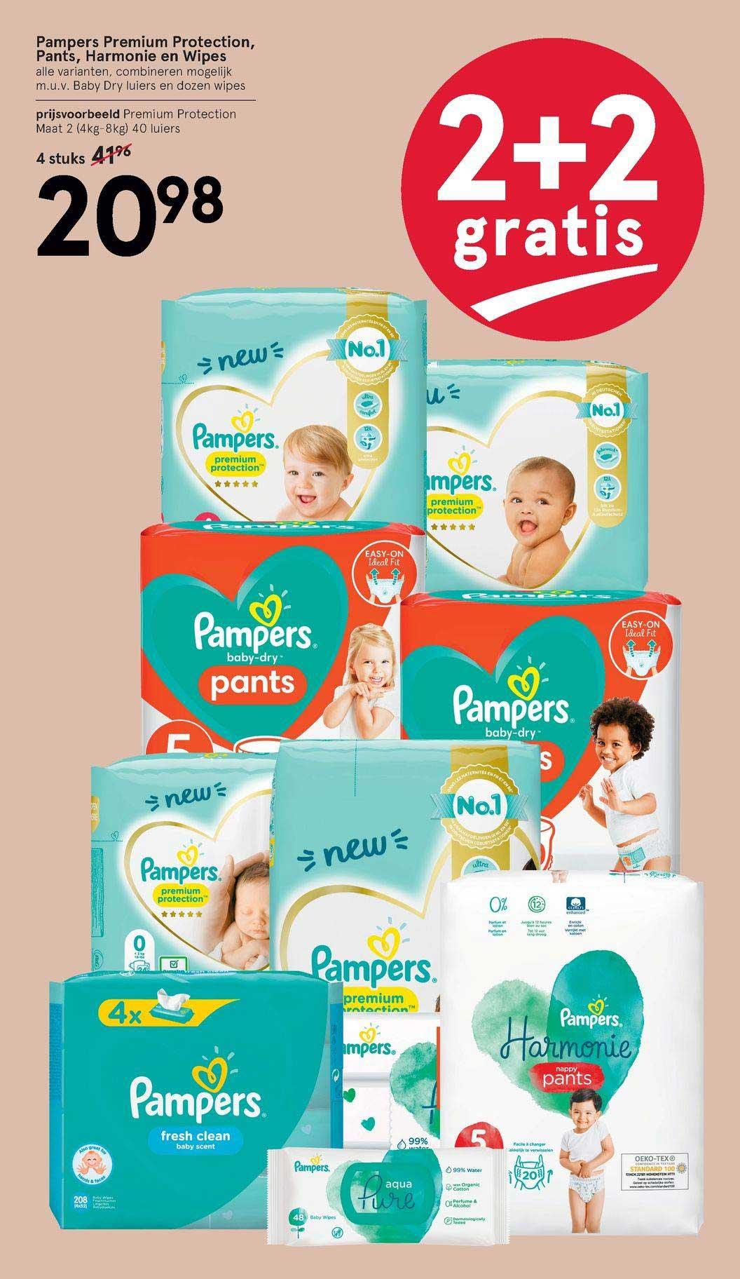 Etos Pampers Premium Protection, Pants, Harmonie En Wipes 2+2 Gratis