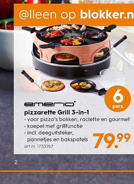 Blokker Emerio Pizzarette Grill 3 In 1
