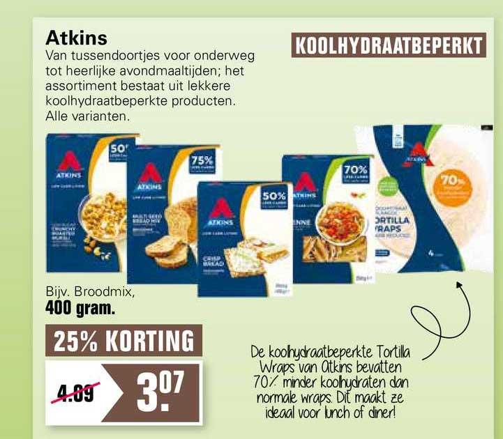 De Online Drogist Atkins Broodmix 25% Korting