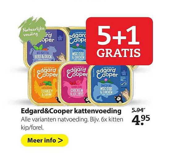 Pets Place Edgard&Cooper Kattenvoeding 5+1 Gratis
