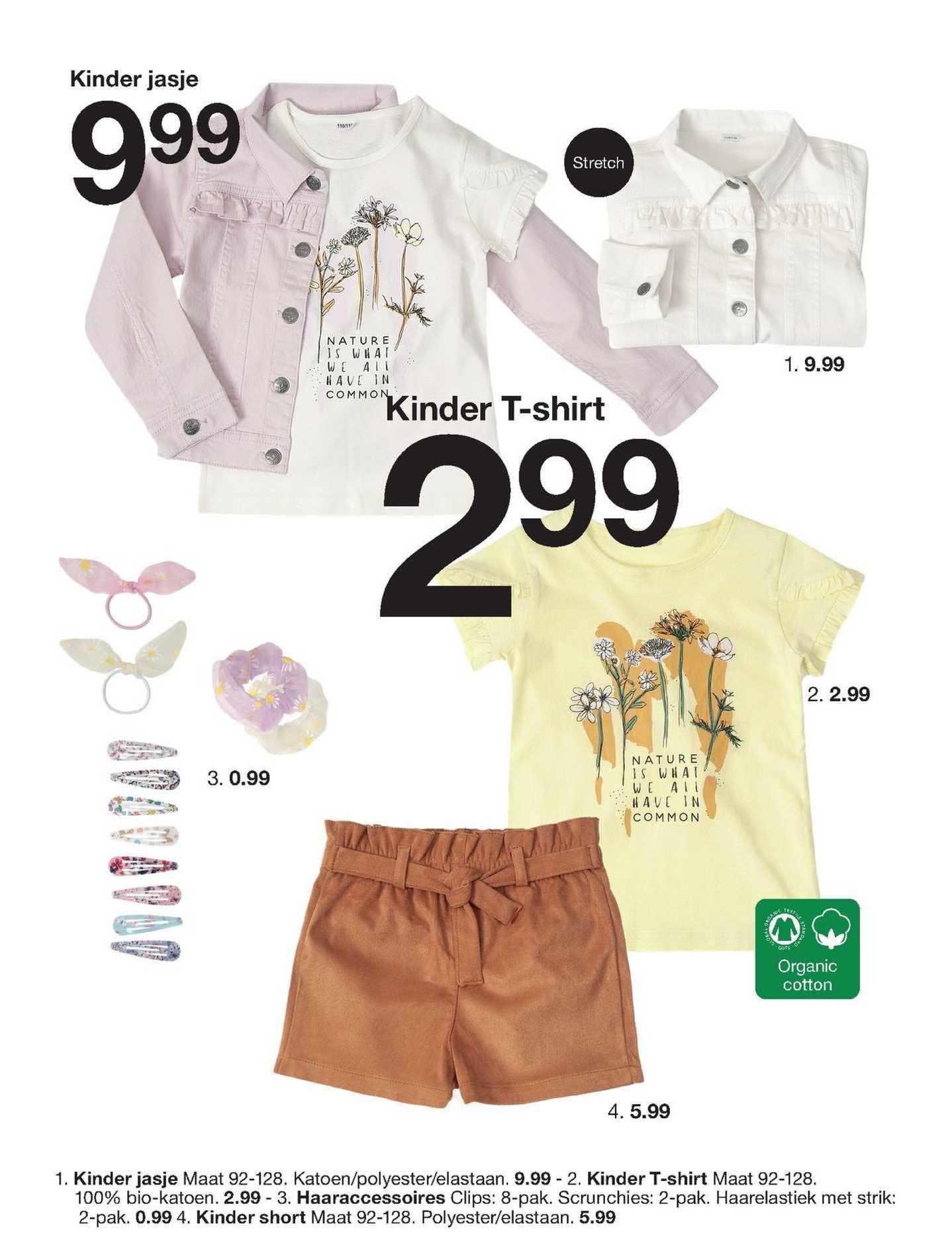 Zeeman Kinder Jasje, Kinder T-Shirt, Haaraccessoires Clips, Scrunchies, Haarelastiek Of Kinder Short