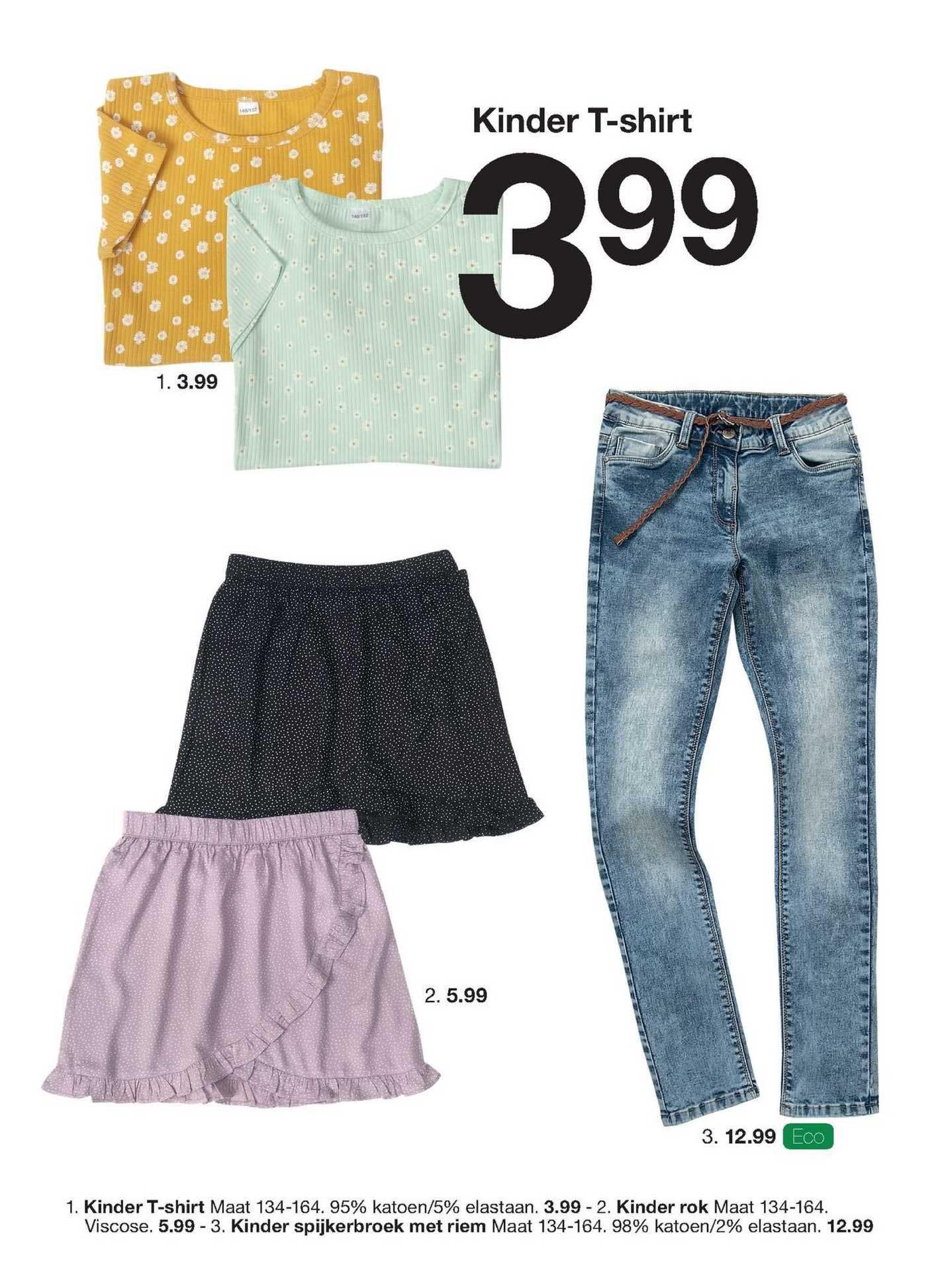 Zeeman Kinder T-Shirt, Kinder Rok Of Kinder Spijkerbroek Met Riem