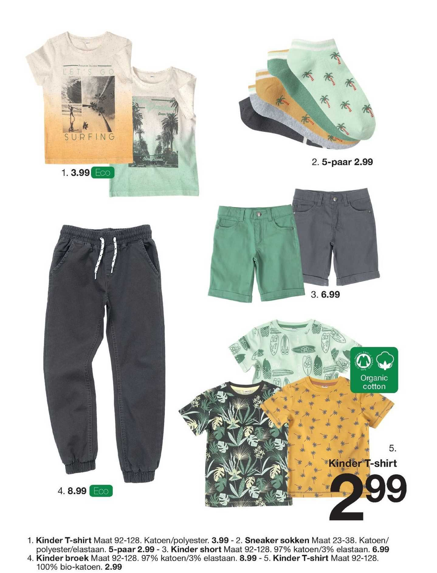 Zeeman Kinder T-Shirt, Sneaker Sokken, Kinder Short Of Kinder Broek