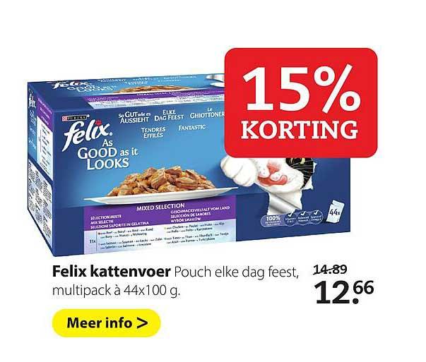 Pets Place Purina Felix Kattenvoer 15% Korting